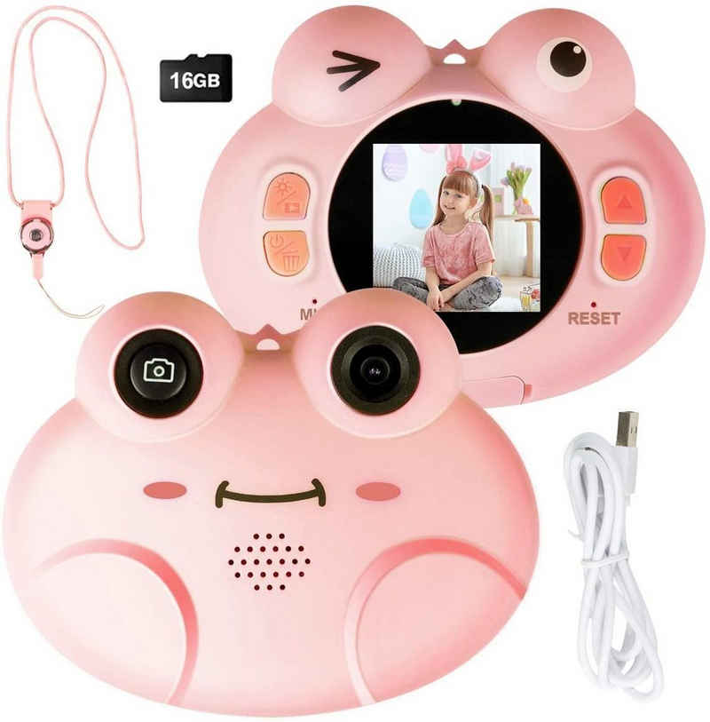 COSTWAY »Kinder Digitalkamera Videokamera« Kinderkamera (8MP/1080P HD, mit Cartoon-Schutzhülle, inkl. Trageband, 16GB-Speicherkarte)