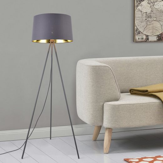 lux.pro Stehlampe, »Manchester« Stehleuchte Design Lampe Metall Grau/Gold