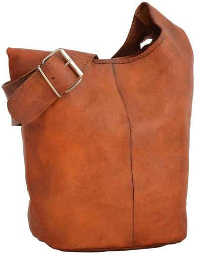 Gusti Leder Shopper »Josephine«, Beuteltasche Leder Umhängetasche Shopper Ledertasche Damen Vintage Braun