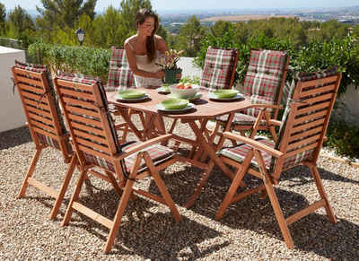 Merxx Gartenmöbelset Borkum 13 Tlg 6 Klappsessel Tisch 135x85 Cm Eukalyptus
