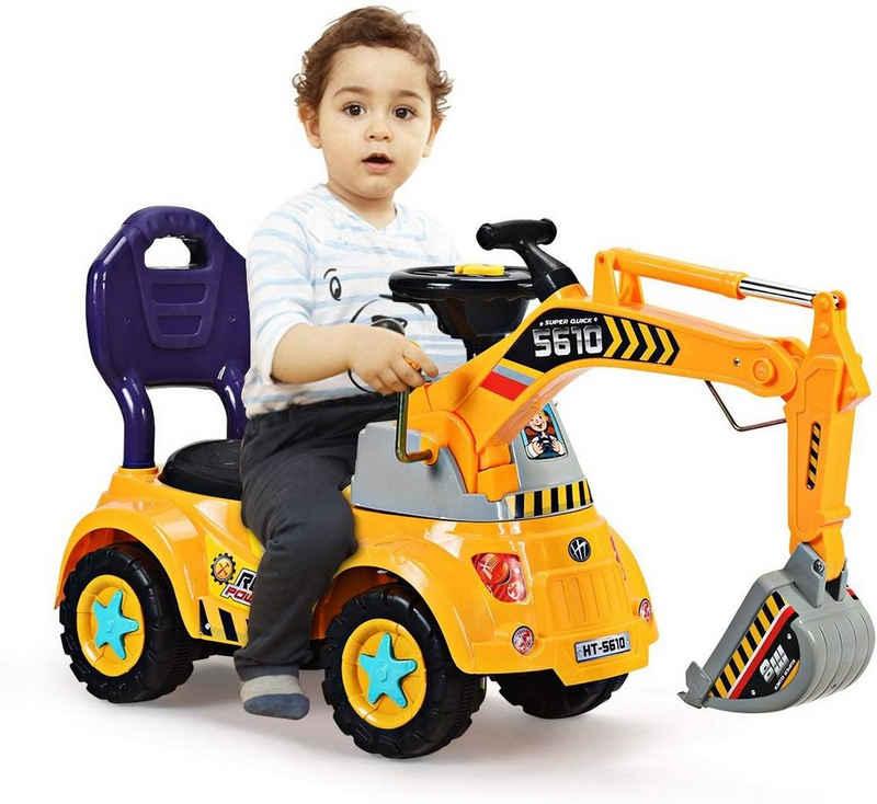 COSTWAY Spielzeug-Aufsitzbagger »Sitzbagger, Kinderauto Bagger«, Kinderauto Bagger mit Zwei Schaufeln