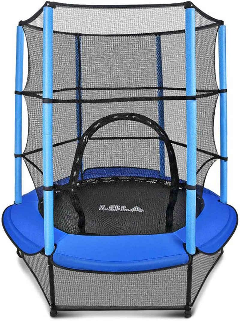 LBLA Kindertrampolin, Durchmesser 140 cm Indoor Outdoor-Trampolin Gartentrampolin mit Haltegriff Sicherheitsnetz Fitness Sport für Kinder Junge Mädchen ab 4 5 6 Jahren