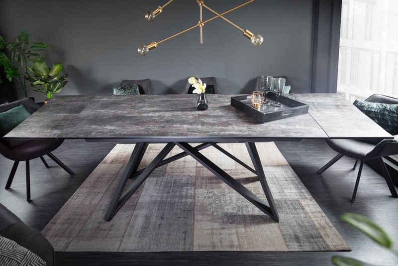 riess-ambiente Esstisch »ATLAS 180-220-260cm grau / schwarz«, Keramik · ausziehbar · Lava-Optik · Industrial Design