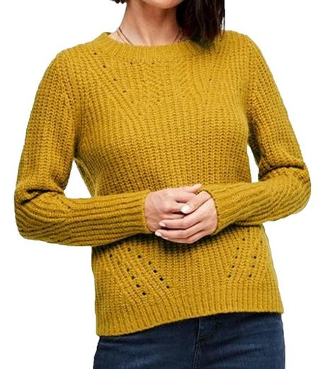 s.Oliver Rundhalspullover »s.Oliver Grobstrick-Pullover weicher Damen Herbst-Pulli im Zopfmuster Freizeit-Pullover Gelb«