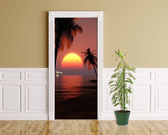 Bilderdepot24 Türtapete, Sonnenuntergang mit Palmen, selbstklebendes Vinyl
