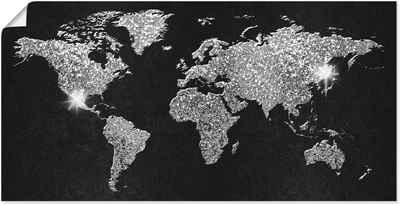 Artland Wandbild »Weltkarte Glitzer«, Land- & Weltkarten (1 Stück), in vielen Größen & Produktarten - Alubild / Outdoorbild für den Außenbereich, Leinwandbild, Poster, Wandaufkleber / Wandtattoo auch für Badezimmer geeignet