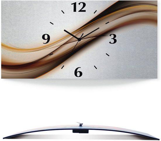 Artland Wanduhr »Welle« (3D Optik gebogen, silber-metallic, lautlos, ohne Tickgeräusche, nicht tickend, geräuschlos - wählbar: Funkuhr o. Quarzuhr, moderne Uhr für Wohnzimmer, Küche etc. - Stil: modern)