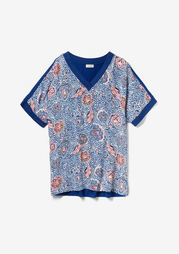 TRIANGLE Kurzarmshirt »Jerseyshirt mit Crêpe-Front« (1-tlg) Rippblende