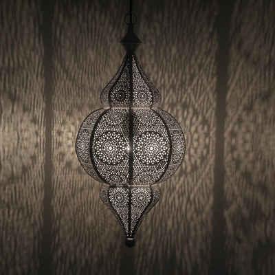 Casa Moro Deckenleuchte »Orientalische Lampe Jamila weiss gold mit Aufhängekette Baldachin & E27 Fassung, Vintage Hängelampe, Prachtvolle Pendelleuchte wie aus 1001 Nacht, LN2020«, Shabby Chic Stil