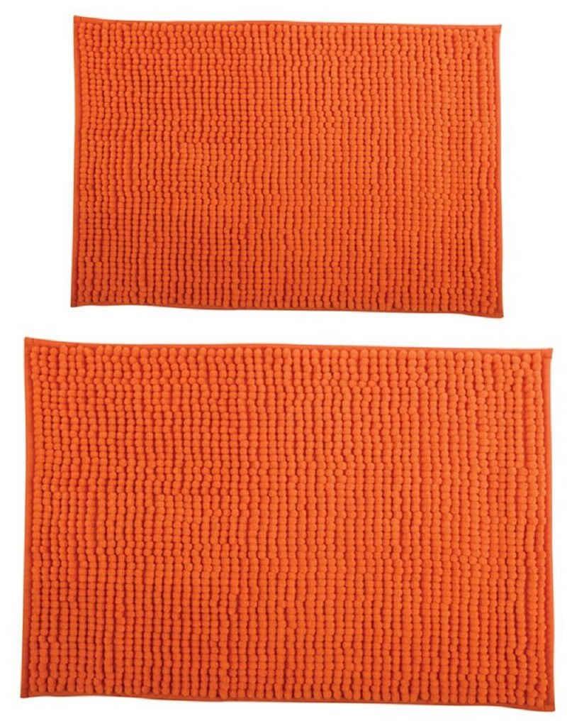 Badematte »CHENILLE«, MSV, Badteppich 2er Kombi-Set, bestehend aus 2 Größen 40x60 und 60x90 cm, 100% Polyester Microfaser, rutschhemmende Beschichtung, waschbar 30°, schnelltrocknend, viele angesagte Trendfarben, orange