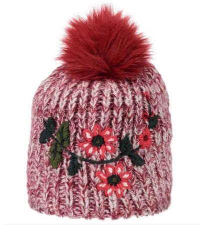 CAMPAGNOLO Strickmütze »Campagnolo Bommel-Mütze modische Damen Winter-Mütze mit Blumen-Print Strick-Mütze Rot/Weiß«