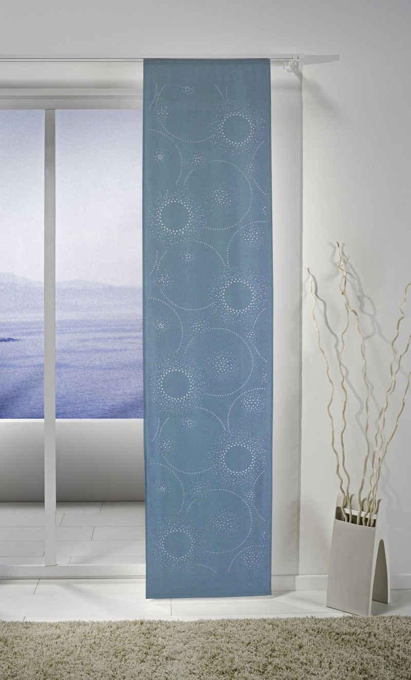 Schiebegardine »Cosmos«, ELBERSDRUCKE, Klettband (1 Stück), Schiebevorhang mit Klettband Cosmos 01 blau 245x57 cm transparent Digitaldruck