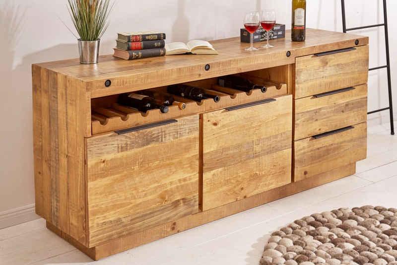 riess-ambiente Sideboard »FINCA 175cm natur«, recyceltes Massivholz · Anrichte · mit Flaschenhalterung · Kommode · Wohnzimmer