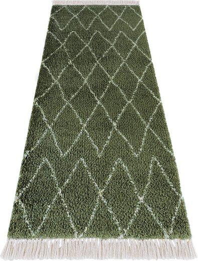 Hochflor-Läufer »Jade«, MINT RUGS, rechteckig, Höhe 35 mm, pastell Farben mit Fransen