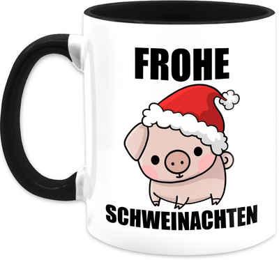 Shirtracer Tasse »Frohe Schweinachten - Weihnachtstasse - Tasse zweifarbig«, Keramik