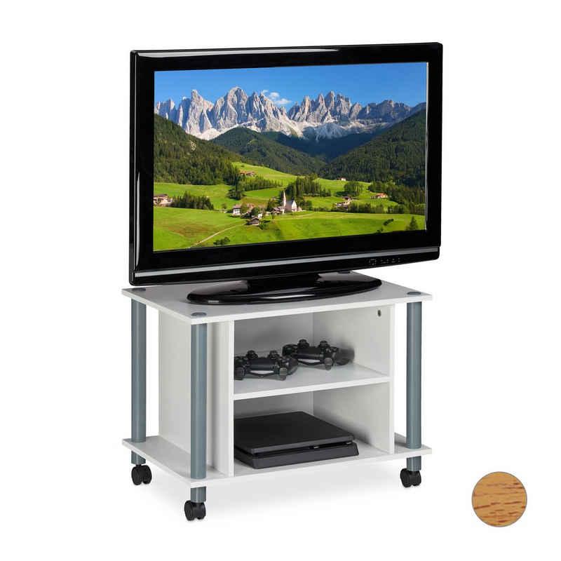 relaxdays TV-Regal »TV Tisch mit Rollen und 2 Fächern«