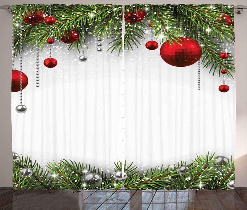 Gardine »Schlafzimmer Kräuselband Vorhang mit Schlaufen und Haken«, Abakuhaus, Weihnachten Baulbes Noel Baum