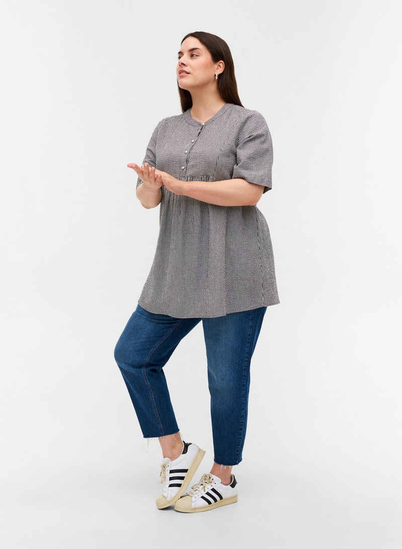 Zizzi Tunika Große Größen Damen Baumwolltunika mit Streifen und A-Linie