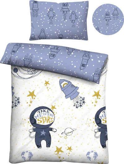Kinderbettwäsche »Julien«, Biberna, mit Weltraummotiven