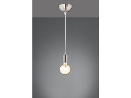 TRIO LED Pendelleuchte, Industrie-Lampe E27 Lampenfassung mit Kabel Esszimmer-Lampe für über Esstisch, kleine Küchen-Lampe hängend Kücheninsel Kochinsel einflammig aus Metall Silber matt und Lampenkabel grau