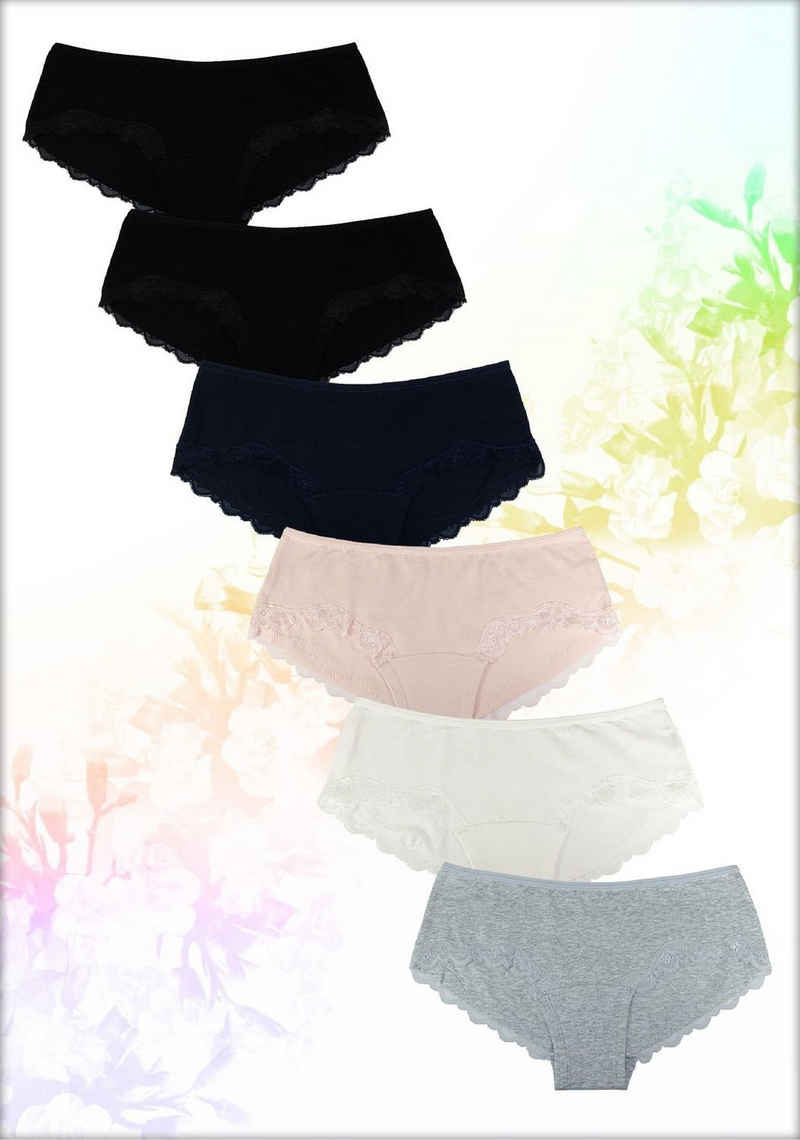 Fabio Farini Panty (6 Stück) im Bikini-Style mit dezenter Spitze