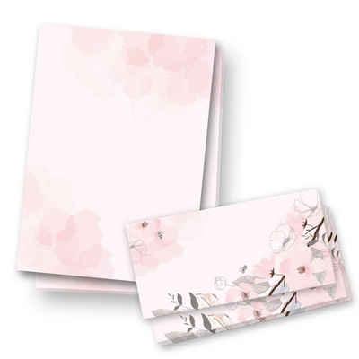 Kreative Feder Briefpapier, Briefpapier Set, 25x DIN A4 Briefpapier mit passenden Umschlägen, Brief, Papier, Post, Schreiben, Geburtstag, Valentinstag, Hochzeit, Weihnachten