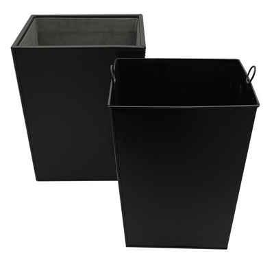 kamelshopping Papierkorb »Mülleimer aus Kunstleder mit Metalleinsatz«, Abfallbehälter mit Kunstleder, 10 Liter, Metalleinsatz, schwarz