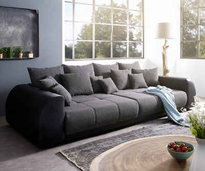 DELIFE Big-Sofa »Violetta«, Schwarz 310x135 cm inklusive Kissen Big-Sofa