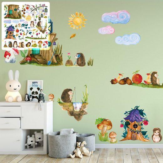 Sunnywall Wandtattoo »XXL Wandtattoo Igel Igelfamilie Sunnywall EXKLUSIV Set verschiedene Motive Kinderzimmer Aufkleber bunt Wanddeko«