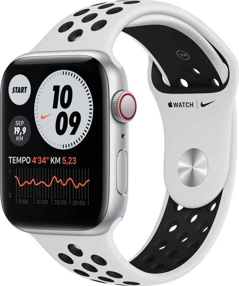 Apple Nike SE GPS + Cellular, Aluminiumgehäuse mit Nike Sportarmband 44mm Watch, inkl. Ladestation (magnetisches Ladekabel)