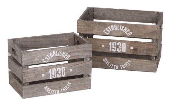 dynamic24 Holzkiste (2 Stück), 2x Deko Kisten Set Obstkisten Shabby Weinkiste Allzweck Truhe Landhaus grau