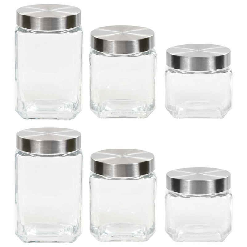 vidaXL Honigglas »vidaXL Vorratsgläser mit Silbernem Deckel 6 Stk. 800/1200/1700 ml«