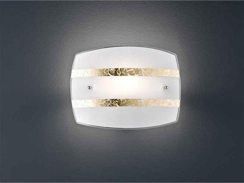 meineWunschleuchte LED Wandleuchte, innen, mit Lampenschirm Milch-Glas Weiß, 1 flammig, Nachttischlampe Wand-Montage flach mit Goldenen Dekor-Streifen, Treppenhaus