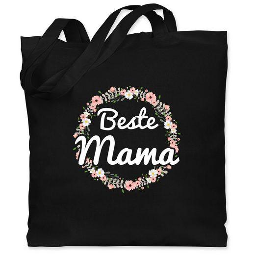 Shirtracer Umhängetasche »Beste Mama Blumenkranz - Muttertagsgeschenk - Jutebeutel lange Henkel - Jutebeutel & Taschen«, mama jutebeutel