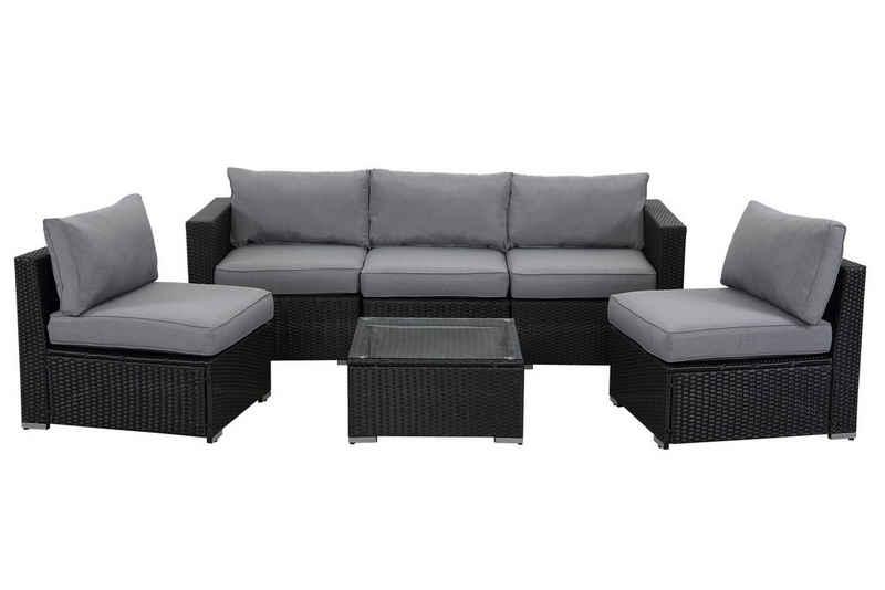 MeXo Loungeset »Gartenmöbel Set Rattan mit Sofa Tisch Garten Loungeset für 5 Personen mit Auflagen«