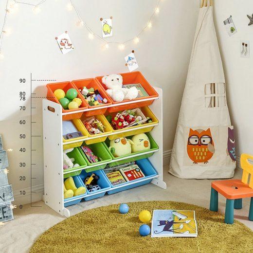 SONGMICS Aufbewahrungsbox »GKR04W GKR04KL«, Standregal für Kinder, mit 12 Aufbewahrungsboxen, Mehrfarbig