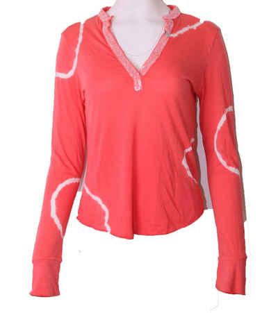 Better Rich Langarmshirt »BETTER RICH Polo Stand up Batik Longsleeve-Shirt speziell eingefärbtes Damen Sommer-Shirt Pailletten am Ausschnitt Chiller-Oberteil Rosa«