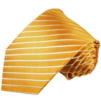 Paul Malone Krawatte »Designer Seidenkrawatte Herren Schlips modern gestreift 100% Seide« Schmal (6cm), gold 760