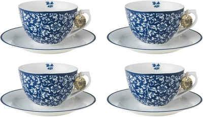 LAURA ASHLEY BLUEPRINT COLLECTABLES Cappuccinotasse »Sweet Allysum«, Porzellan, 4 Tassen, 4 Untertassen
