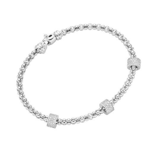 Smart Jewel Armspange »Himbeerkettenoptik, Rondelle mit Zirkonia Steinen, Silber 925«