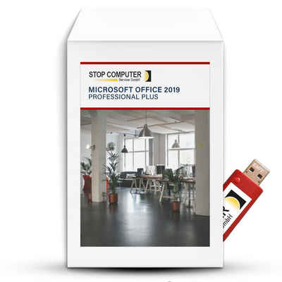Microsoft Office 2019 Professional Plus auf rotem 16 GB USB-3.0-Stick (Officeprogramm, Microsoft Office)