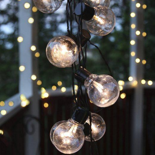 STAR TRADING LED-Lichterkette »LED Party Lichterkette 16 klare beleuchtete Kugeln L: 4,5m Balkon Terrasse schwarzes Kabel«, 16-flammig