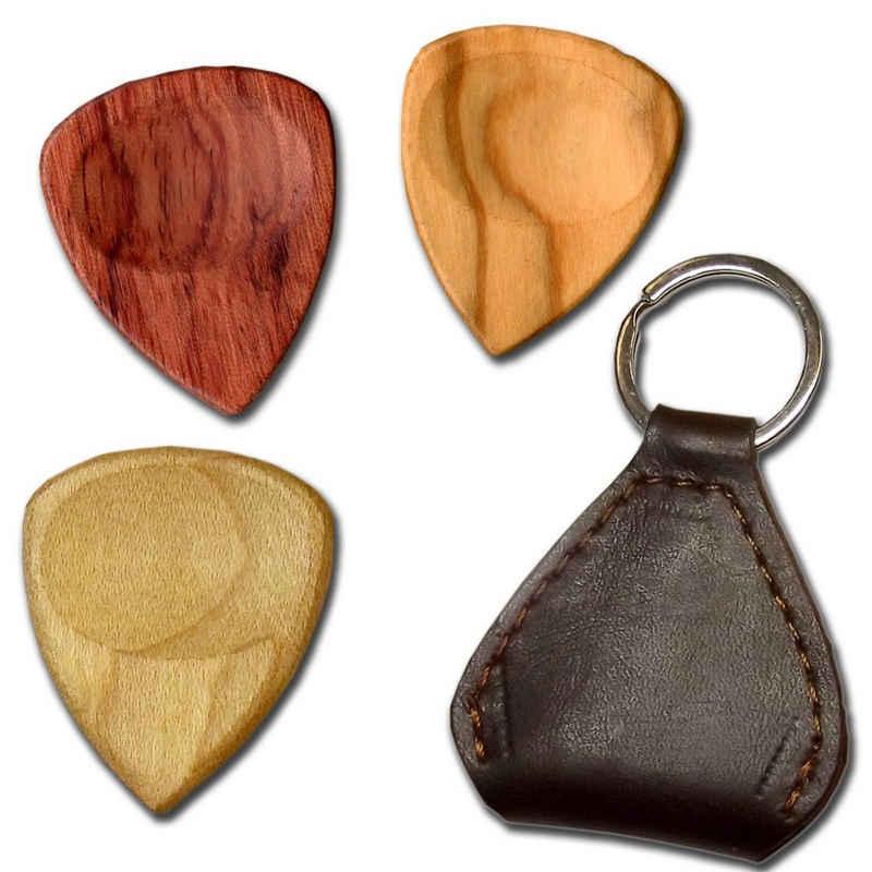 elbedruck Plektrum »Plektrum 3 Stück aus Ahorn-, Oliven- und Rosenholz mit Tasche aus Leder in Geschenkbox«, Plektren aus 3 verschiedenen Hölzern mit 1 Ledertasche