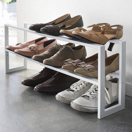 Yamazaki Schuhregal »Line«, mit 3 Ablagen, ausziehbar, für 6-9 Paar, minimalistisch, aus Metall, freistehend