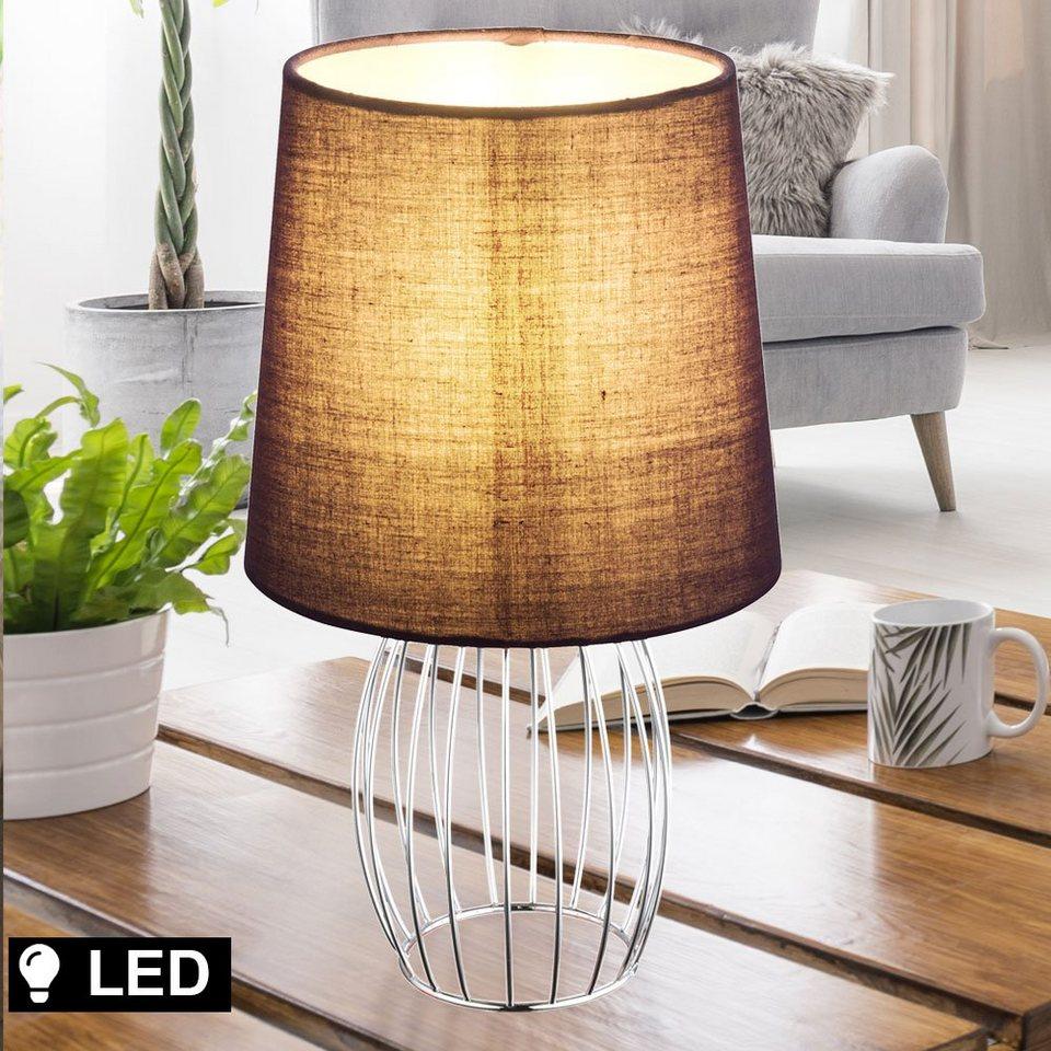 etc shop Tischleuchte, Schreib Tisch Lampe lila Wohn Arbeits Zimmer Textil  Lese Leuchte chrom im Set inkl. LED Leuchtmittel online kaufen   OTTO