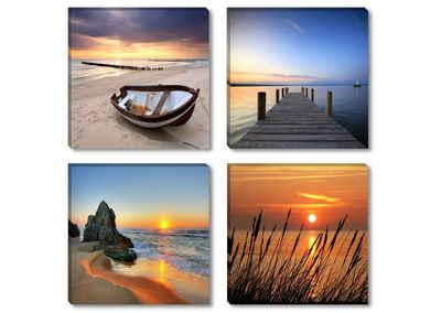 Visario Bild mit Rahmen »4er Bilder Set auf Leinwand Motiv Natur Meer fertig gerahmt sofort aufhängbar. 06608«, 6608 (4 Stück)