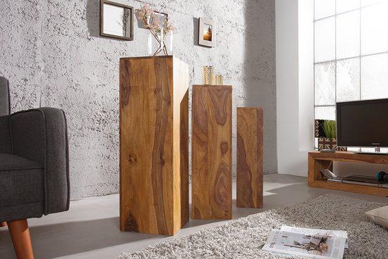 riess-ambiente Beistelltisch »MAKASSAR 80cm natur« (3er-Set), aus Massivholz