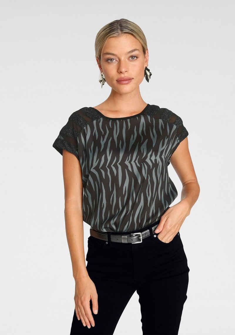 Melrose Shirtbluse mit Glanzgarn und Mesh - NEUE KOLLEKTION