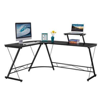 Yaheetech Eckschreibtisch, Schreibtisch Computertisch Bürotisch 162,5 x 130 x 96,5 cm Schwarz