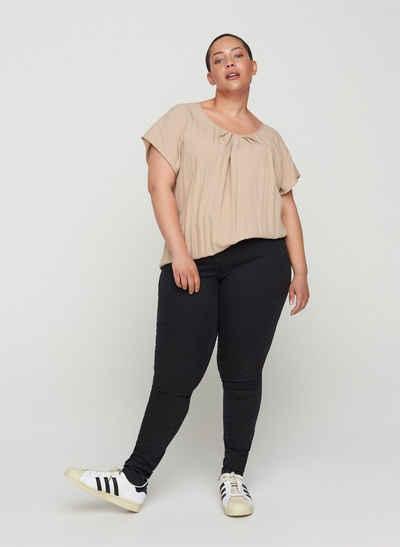 Zizzi Kurzarmbluse Große Größen Damen Bluse aus Viskose mit Rundhals